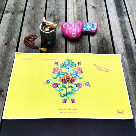 Yoga Handtuch Inhale Joy Happiness Yellow Flowers