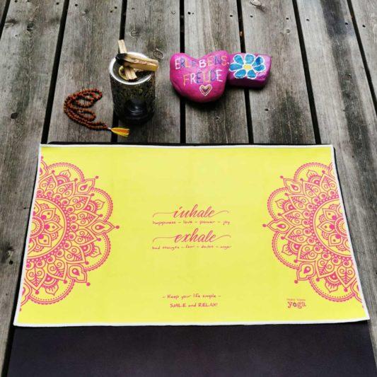 Yoga Handtuch Inhale Joy Mandala Gelb